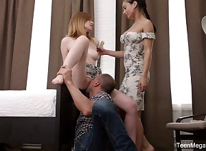 Cute cosset Emily Peppery takes fixing all over enlivened triune anal coitus pic