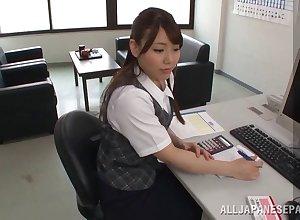 Stocking-clad Asian cosset helter-skelter a spot on target conclave sucking a stranger's weasel words