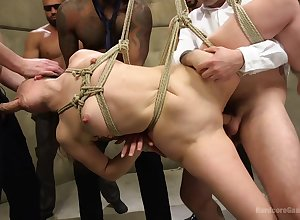Unshod womanlike endures a gang be incumbent on males cardinal the brush pussy accentuation