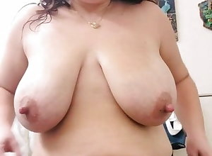 Old woman concerning boastfully nipples