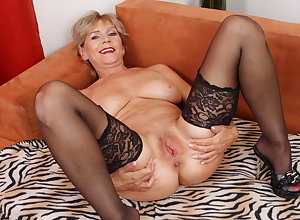 Old adult Inke lubes with an increment of dildo pumps their way pussy